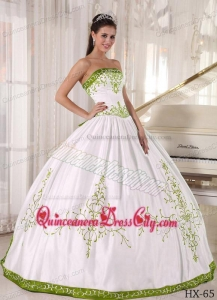 White and Olive Green Strapless Floor-length Embroidery Quinceanera Dress