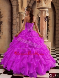 Fuchsia Ball Gown Sweetheart Floor-length Ruffles Organza Quinceanera Dress
