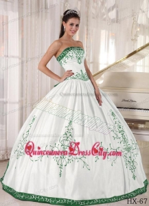 White and Green Strapless Floor-length Embroidery Quinceanera Dress