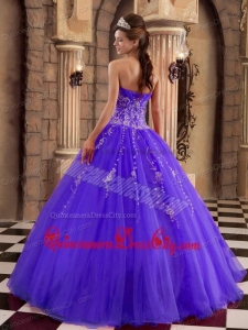 Purple Ball Gown Floor-length Organza Beading Quinceanera Dress