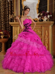 Hot Pink Ball Gown Sweetheart Floor-length Organza Appliques Quinceanera Dress