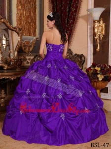 Purple Ball Gown Strapless Floor-length Taffeta Appliques Quinceanera Dress