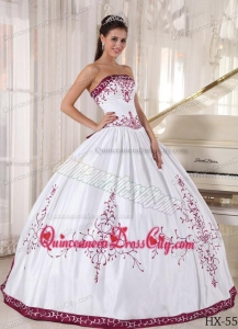 Strapless Floor-length Embroidery Quinceanera Dress in White and Purple