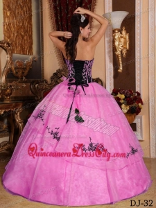Hot Pink and Black Strapless Floor-length Embroidery Quinceanera Dress