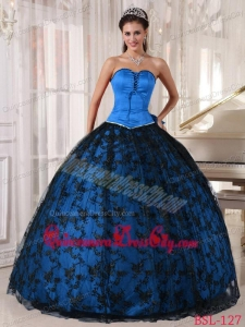 Sweetheart Blue and Black Floor-length Tulle and Taffeta Lace Quinceanera Dress