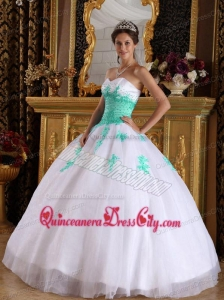 White and Green Ball Gown Sweetheart Floor-length Appliques Organza Quinceanera Dress