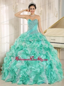 Apple Green Beaded Bodice and Ruffles Custom Made For Quinceanera Dress