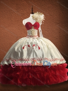 New Arrivals Ruffled Layers and Patterned Red Quinceanera Dress in Organza and Taffeta