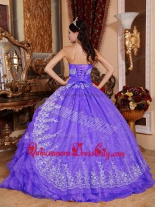 Purple Ball Gown Sweetheart Floor-length Organza Beading Quinceanera Dress