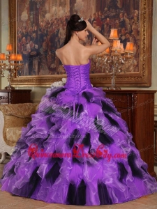 Purple and Black Ball Gown Strapless Floor-length Organza Quinceanera Dress