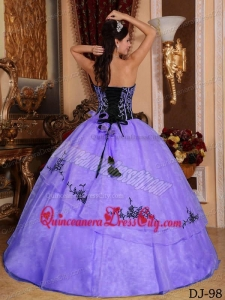 Purple and Black Strapless Floor-length Embroidery Quinceanera Dress