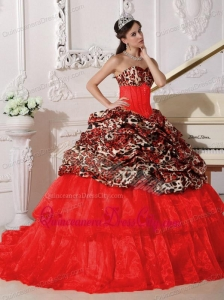 Red Ball Gown Sweetheart Sweep Train Leopard and Organza Appliques Quinceanera Dress