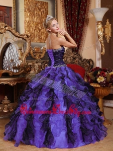 Sweetheart Beading and Ruffles Quinceanera Dress in Purple and Black