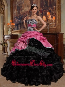 Coral Red and Black Ball Gown Sweetheart Pick-ups Taffeta and Organza Quinceanera Dress