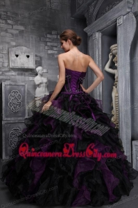 Exclusive Strapless Taffeta and Organza Appliques and Ruffles Multi-color Quinceanera Dress