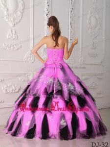 Hot Pink and Black A-Line Strapless Floor-length Organza Appliques Quinceanera Dress