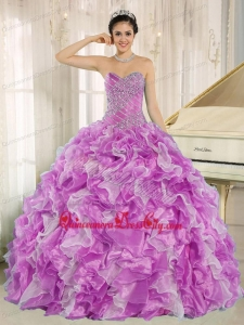 Multi-color Beaded Bodice and Ruffles Custom Made Quinceanera Dress