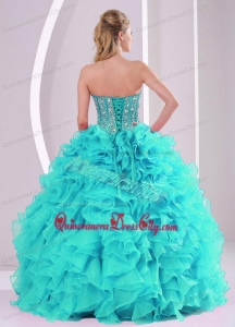 Elegant Ball Gown Sweetheart Ruffles and Beaded Decorate Quinceanera Gowns in Sweet 16