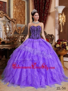 Purple and Black Ball Gown Sweetheart Embroidery with Beading Quinceanera Dress