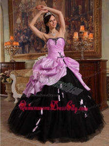 Ball Gown Sweetheart Floor-length Hand Flowers Tulle and Taffeta Quinceanera Dress