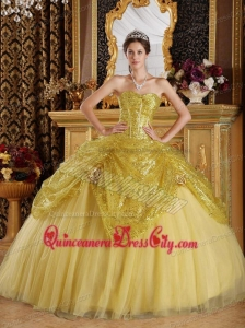 Gold Ball Gown Sweetheart Floor-length Sequined and Tulle Handle Flowers Quinceanera Dress