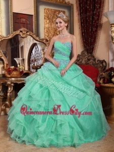Apple Green Ball Gown Sweetheart Organza Appliques and Ruched Quinceanera Dress