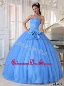 Blue Ball Gown Sweetheart Floor-length Tulle Beading and Bowknot Quinceanera Dress
