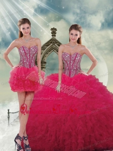 Fashionable Beading and Ruffles Red Sweet 16 Dresses