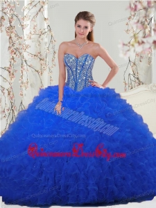 Most Popular Royal Blue Quinceanera Dresses with Beading and Ruffles for 2015 Spring