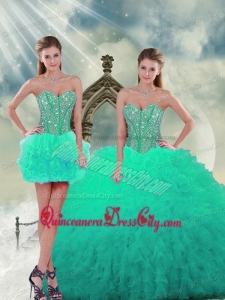 2021 Elegant Beading and Ruffles Sweet 16 Dresses in Apple Green