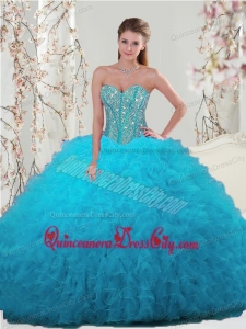 2021 Unique Beading and Ruffles Turquoise Dresses For Quince