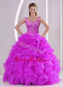 Fashionable Fuchsia Quince Dresses with Beading and Ruffles