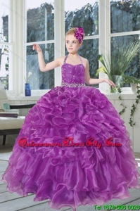 2021 Romantic Beading and Ruffles Organza Little Girl Pageant Dress with Halter