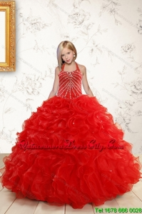 Beautiful Red Flower Girl Dress with Beading and Ruffles for 2022