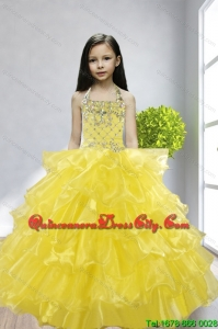 Yellow Ball Gown Halter Beading and Ruffles Little Girl Pageant Dress for 2022