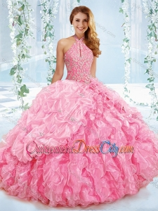 Cut Out Bust Beaded Bodice Detachable Quinceanera Skirts with Halter Top