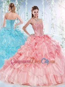 Latest Visible Boning Beaded Bodice Detachable Quinceanera Skirts in Organza