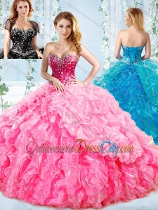 Visible Boning Big Puffy Detachable Quinceanera Skirts with Ruffles and Beading