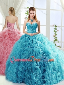 Artistic Rolling Flowers Brush Train Detachable Quinceanera Skirt with Beading