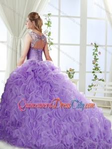 Big Puffy Brush Train Detachable Sweet 16 Skirt with Beading and Appliques