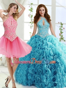 Cut Out Bust Beaded Detachable Quinceanera Skirt in Baby Blue