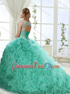 Lovely Sweetheart Beaded Detachable Quinceanera Skirt with Rolling Flower