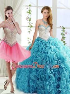Sophisticated Rolling Flowers Detachable Quinceanera Skirt with Brush Train