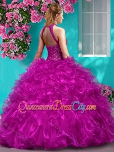Beautiful Halter Top Beaded and Ruffled Unique Quinceanera Dress in Royal Blue