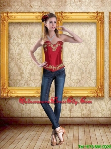 2021 Cute Sweetheart Wine Red Corset with Embroidery