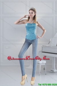 2021 Spring Baby Blue Corset with Appliques and Beading