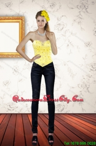 Cute Sweetheart Beaded and Ruffled Yellow Corset for 2022