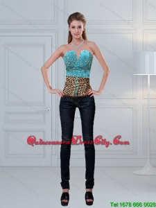 Leopard Printed Baby Blue Beaded Perfect Corset for 2022