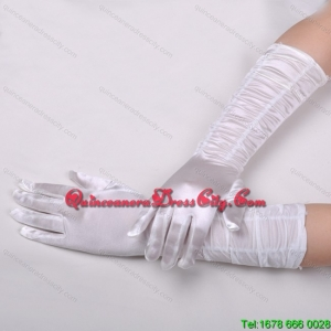 Lycra Fingertips Elbow Length Bridal Gloves With Ruching