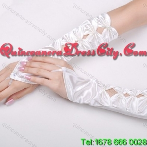 Unique Satin Fingerless Elbow Length Bridal Gloves With Butterfly Shaped Flowers